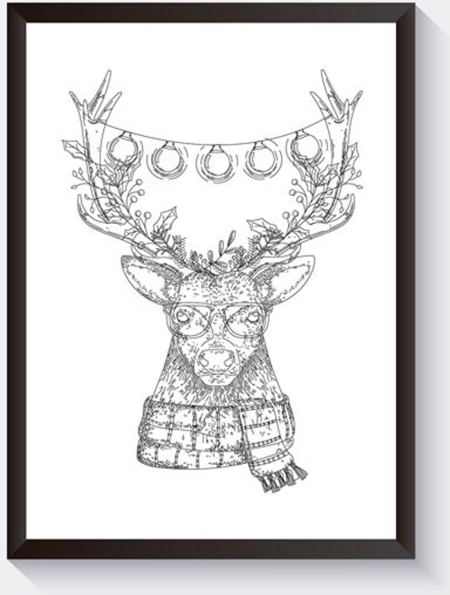 Zwart wit kerst poster - Hipster rendier poster- Grappige kerstposter kopen