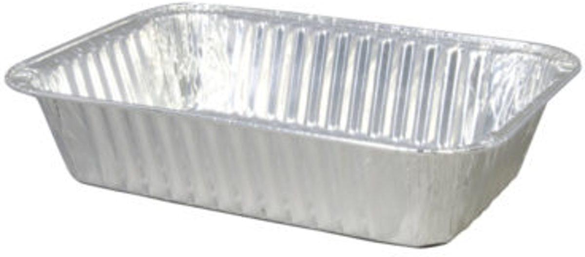 Rechthoekige aluminium wegwerp bakje 19,5x14x5 cm per 100 stuks kopen