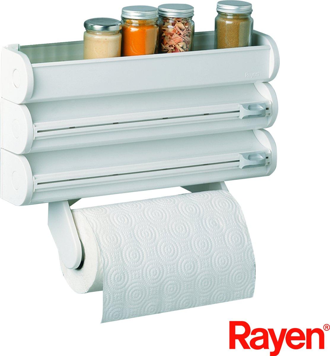Rayen Rollenhouder - Wit - voor 3 rollen en bovenop een bakje voor kruiden kopen