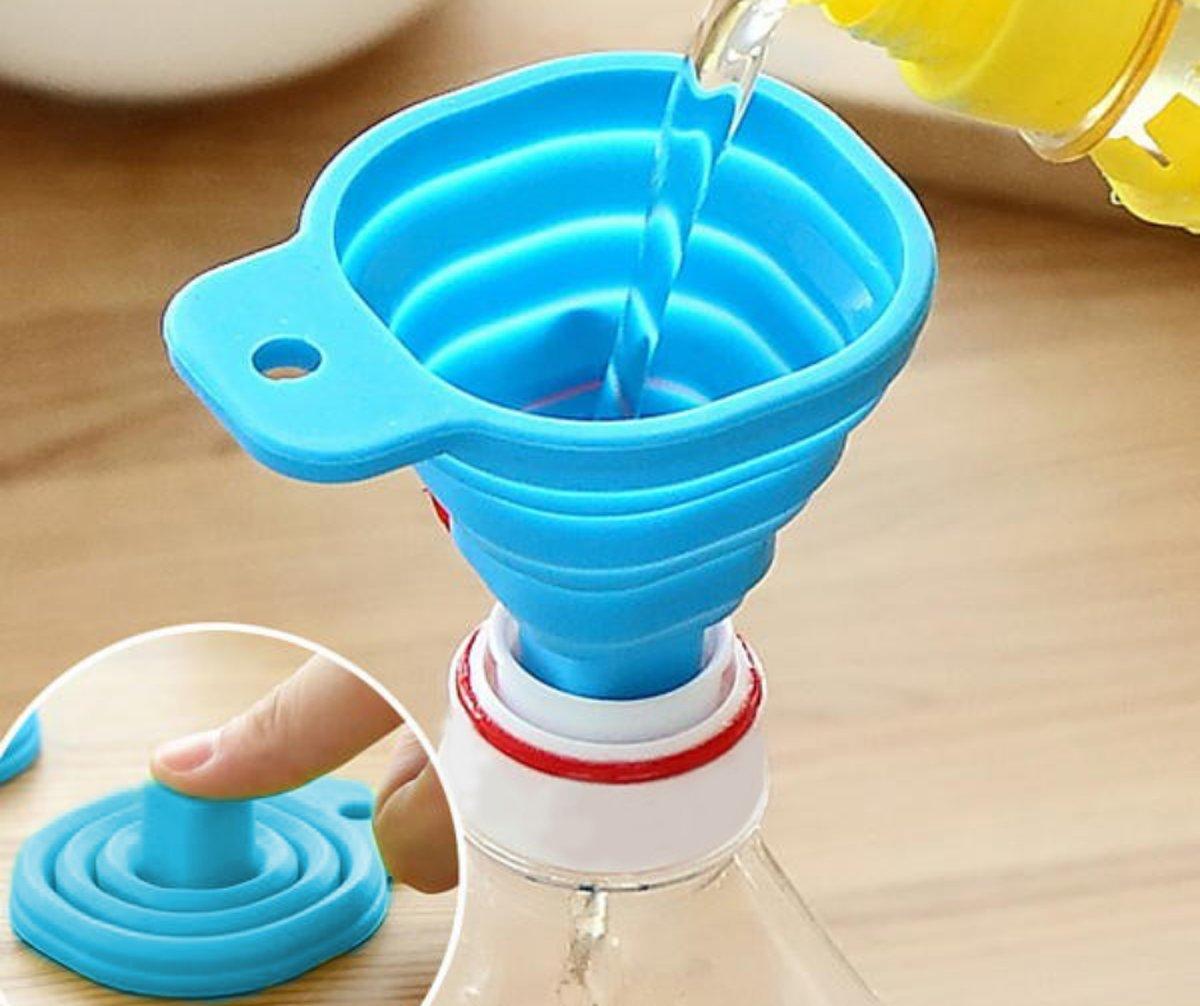 Opvouwbare Siliconen Trechter - Inklapbaar handig keuken hulp tool - In de kleur Blauw kopen