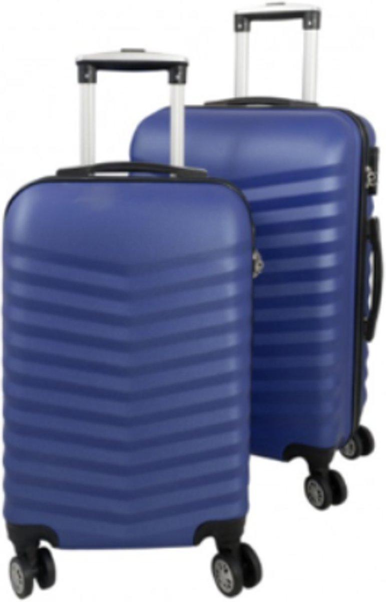 2 delig reiskoffer set Travelsuitcase blauw met 3D structuur kopen