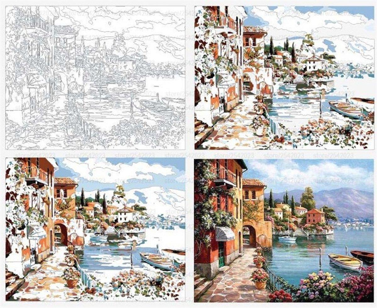 Dieux® - Schilderen op nummers -  Mediterraanse kustplaats - 50 x 40 - Compleet Pakket - Voor volwassenen - Linnen doek kopen