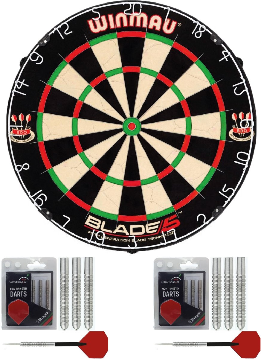 Winmau - Dart basis startersset - Winmau Blade 5 - dartbord - 2 sets Dragon - dartpijlen kopen