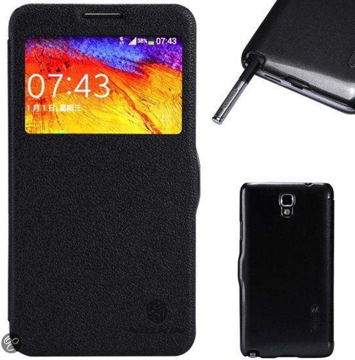 Nillkin New Leather Case Voor Samsung Galaxy Note 3 Neo Baseus Terse 5 Flip Cover Window View N750 N7505 Zwart