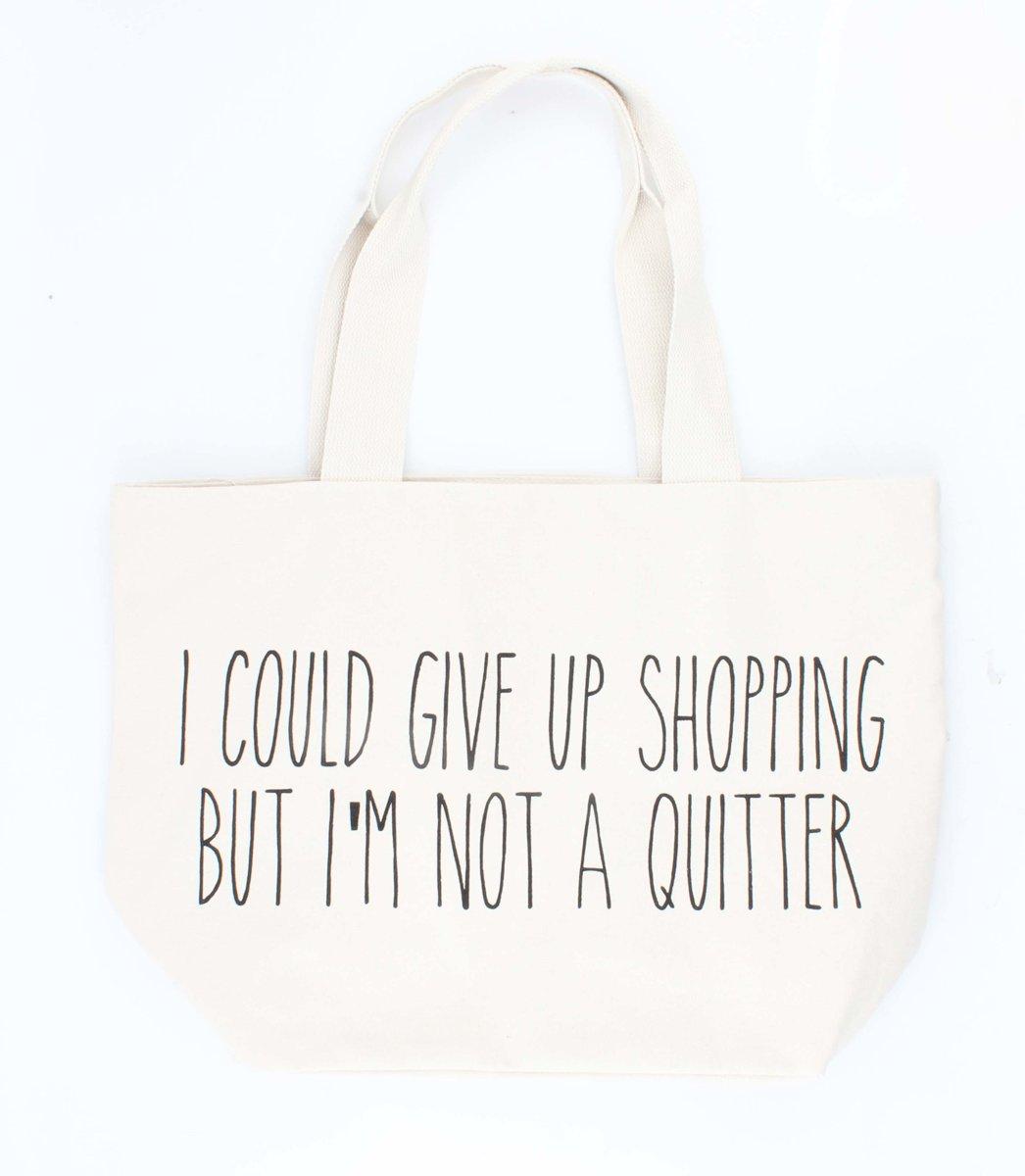 """Brede canvas Shopper met Tekst / Leus Opdruk """"I Am Not A Quiter"""" - Crème Wit (2 stuks) kopen"""