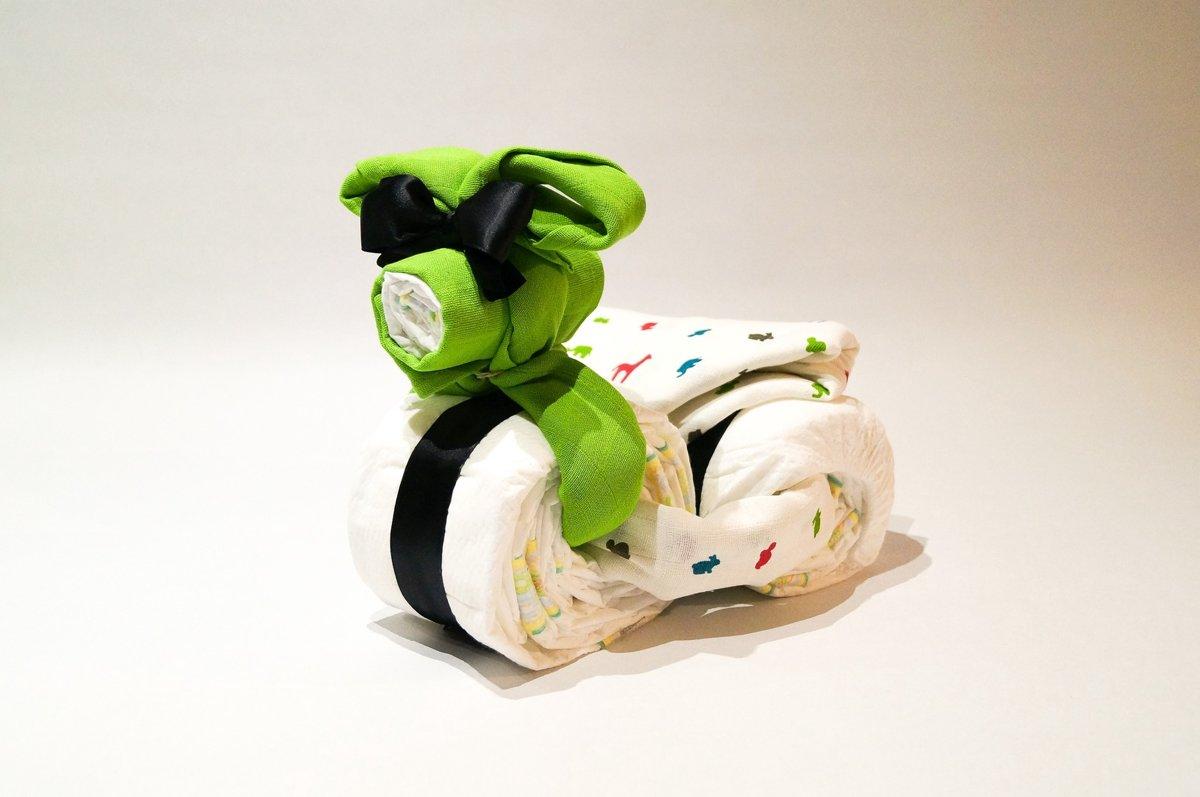 Luiertaart - Pampertaart Neutraal Fiets - 21 Pampers - Groen