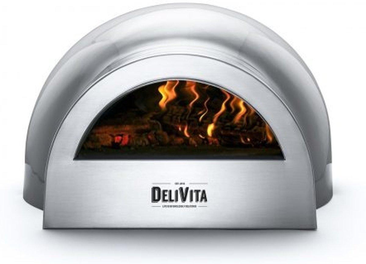 Delivita houtgestookte pizza-oven grijs kopen