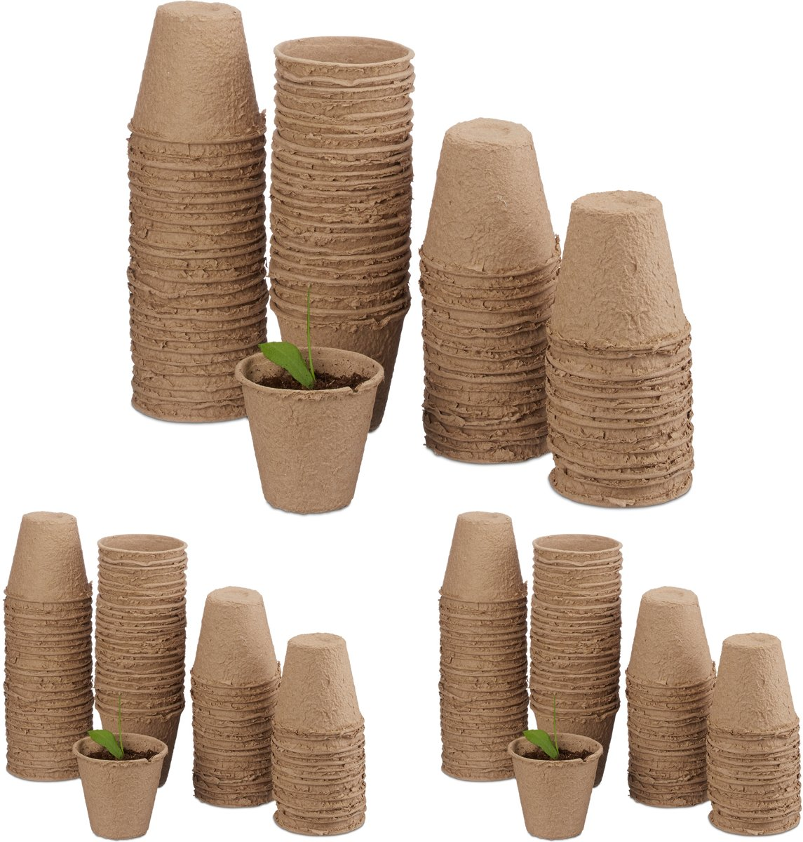 relaxdays 240 - kweekpotjes - biologisch afbreekbare stekpotjes - rond - beige