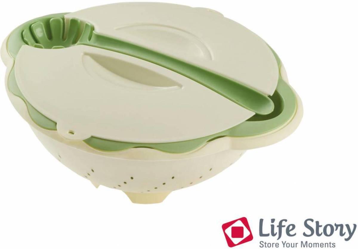 Life Plastic 4 delige Pasta set Kom -Vergiet - deksel - opschep lepel kopen
