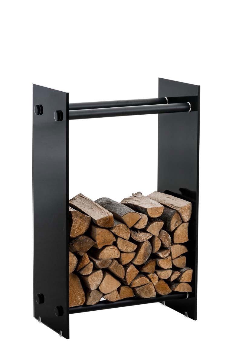 Clp Brandhoutrek DACIO, stabiele constructie, houtopslag, moderne glasplaat met vloerbeschermers, - kleur dwarsligger : zwart metaal 35x80x60 cm kopen
