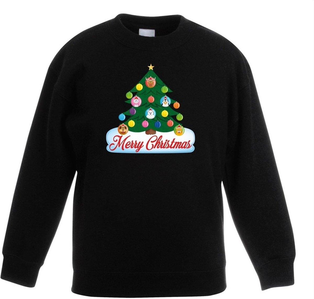 Zwarte kersttrui met dierenvriendjes kerstboom voor jongens en meisjes - Kersttruien kind 7-8 jaar (122/128) kopen