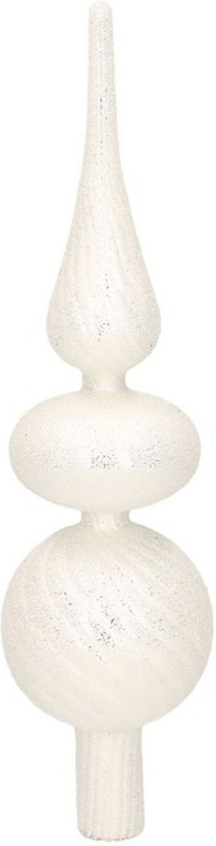 Zilveren glazen swirl kerstboom piek glitter kralen 32 cm - Glas - Kerstboomversieringen zilver kopen
