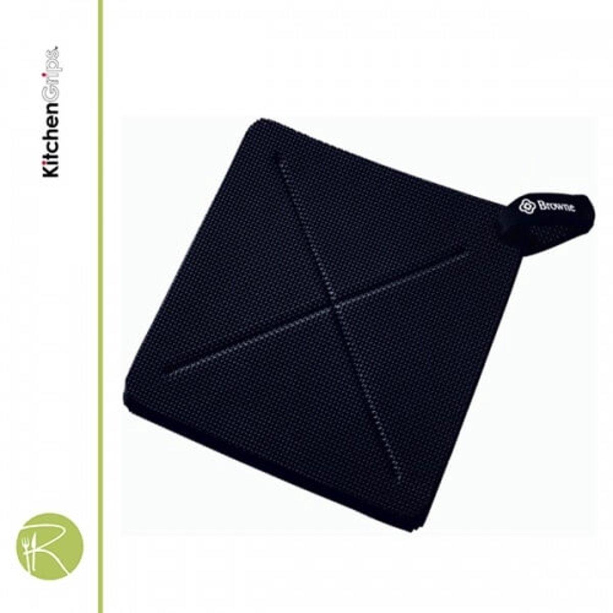 Pannenlap / onderzetter Horeca FLXaPrene - Vierkant 25 x 25 cm, Zwart - Kitchengrips kopen