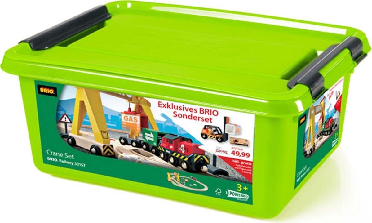 Brio 33157 Speciale Kraan Houten Trein Set met batterij locomotief (in handige opbergemmer met deksel)