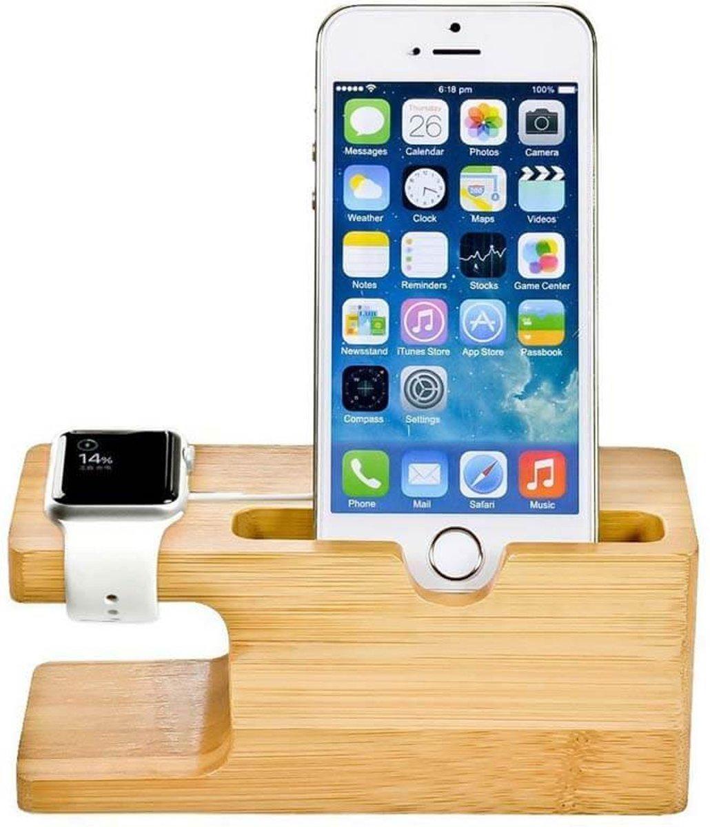 2 in 1 bamboe Apple Watch Standaard / Iphone houder voor Apple Watch/ iPhone 6 / 6 Plus /6s / 6s Plus /7 / 8 / 8 plus / Iphone X Watchbands-shop.nl kopen