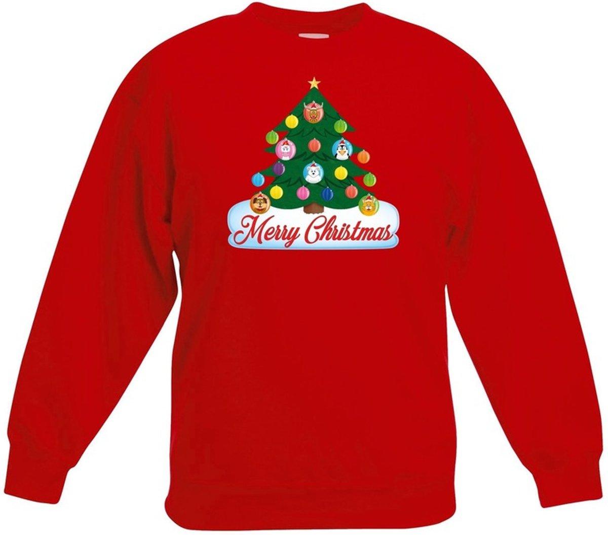 Rode kersttrui met dierenvriendjes kerstboom voor jongens en meisjes - Kersttruien kind 14-15 jaar (170/176) kopen