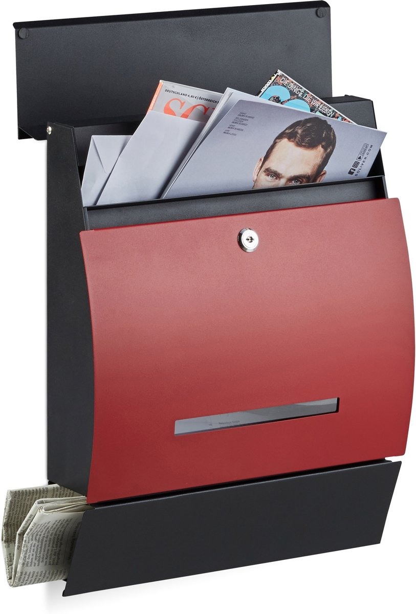 relaxdays brievenbus met krantenrol, postbussen, postbus, verschillende kleuren