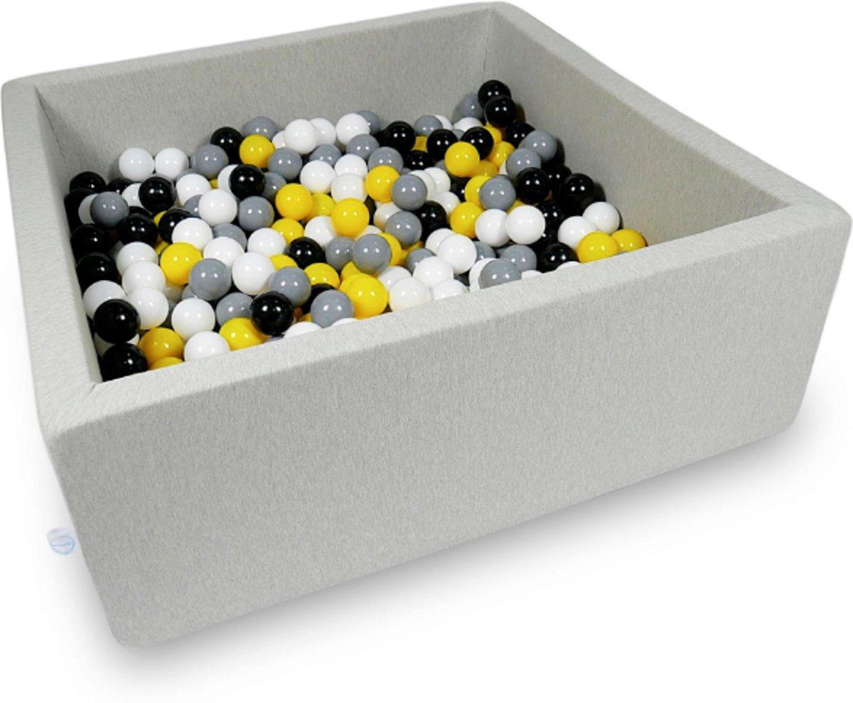 Ballenbak - 600 ballen - 110 x 110 cm - ballenbad - vierkant grijs
