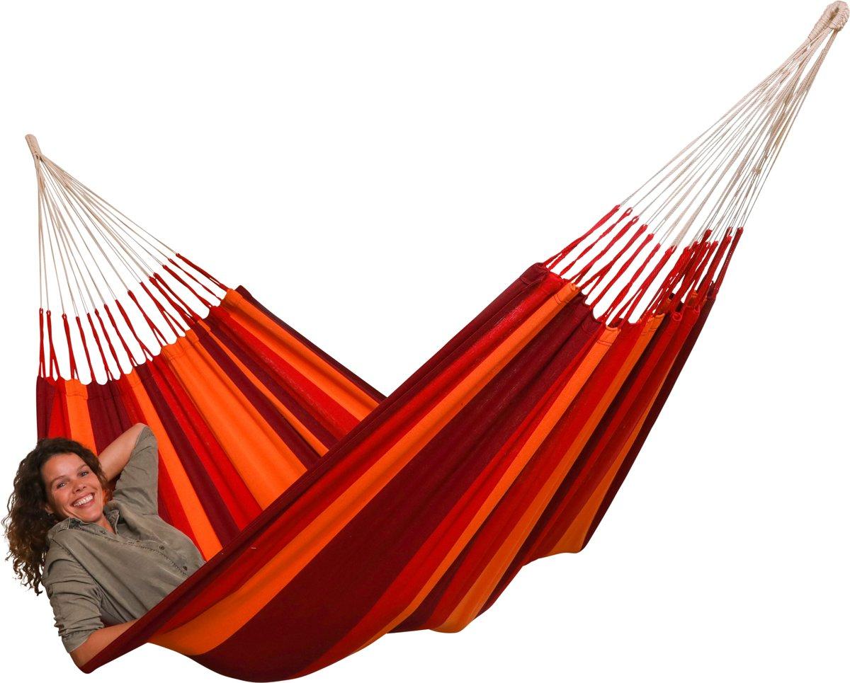 """Hangmat """"El Classico Rojo"""" compleet met bevestigingsset """"Makkie"""""""