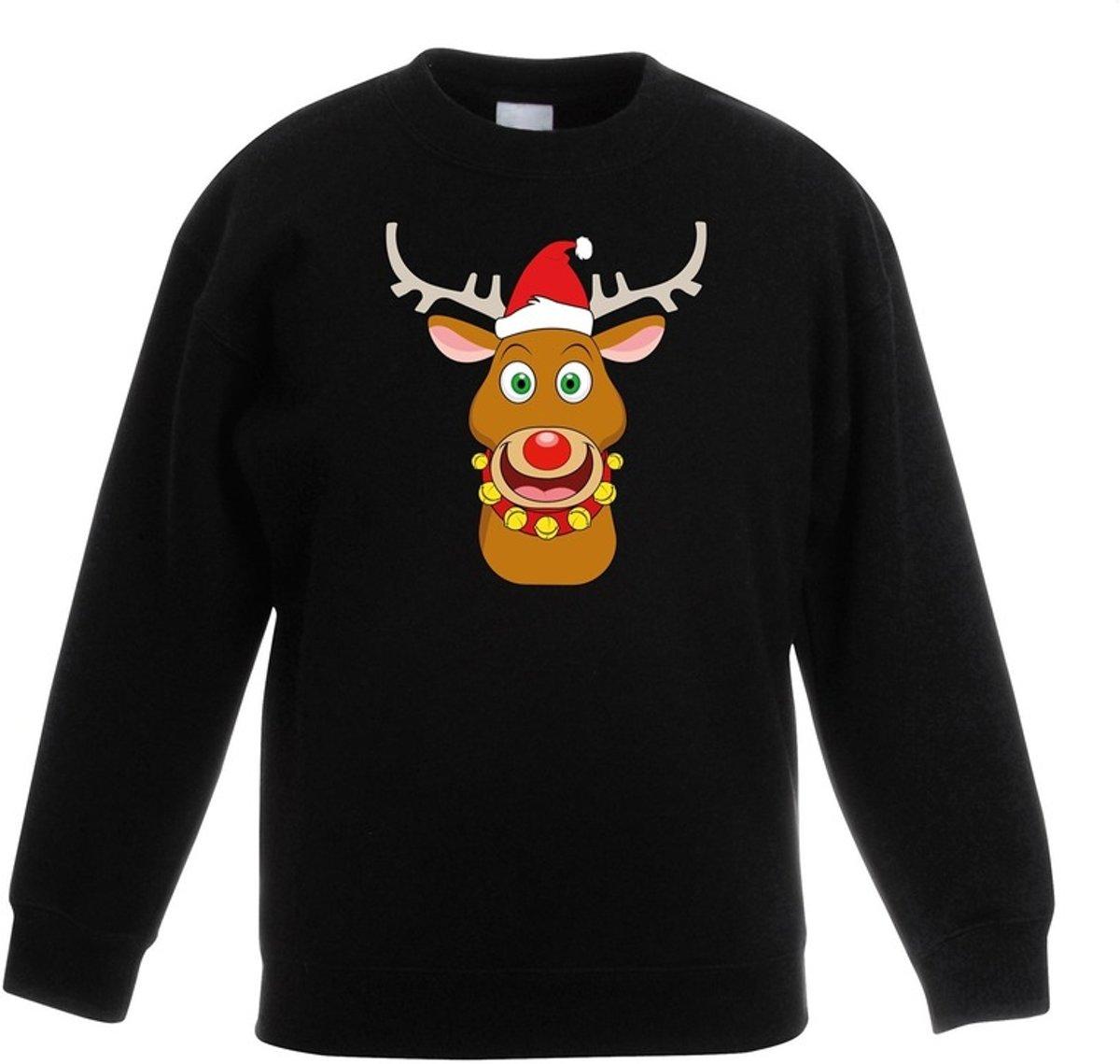 Zwarte kersttrui blije rendier Rudolf met rode kerstmuts voor jongens en meisjes - Kerstruien kind 7-8 jaar (122/128) kopen