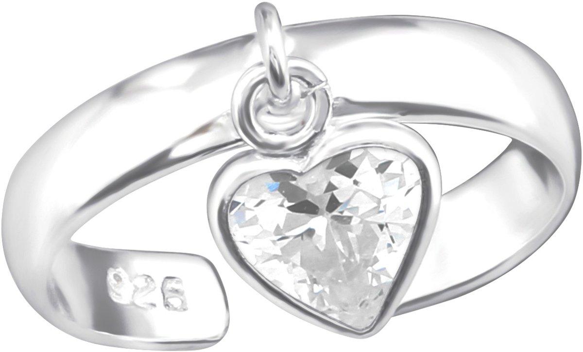 Teenring hart - verstelbaar - 925 zilver kopen