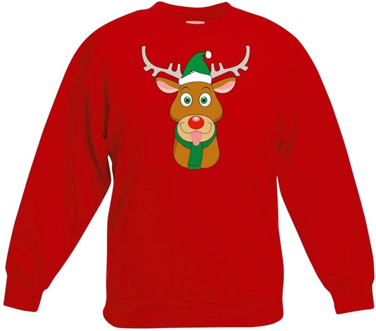 Rode kersttrui rendier Rudolf met groene kerstmuts voor jongens en meisjes - Kerstruien kind 14-15 jaar (170/176) kopen
