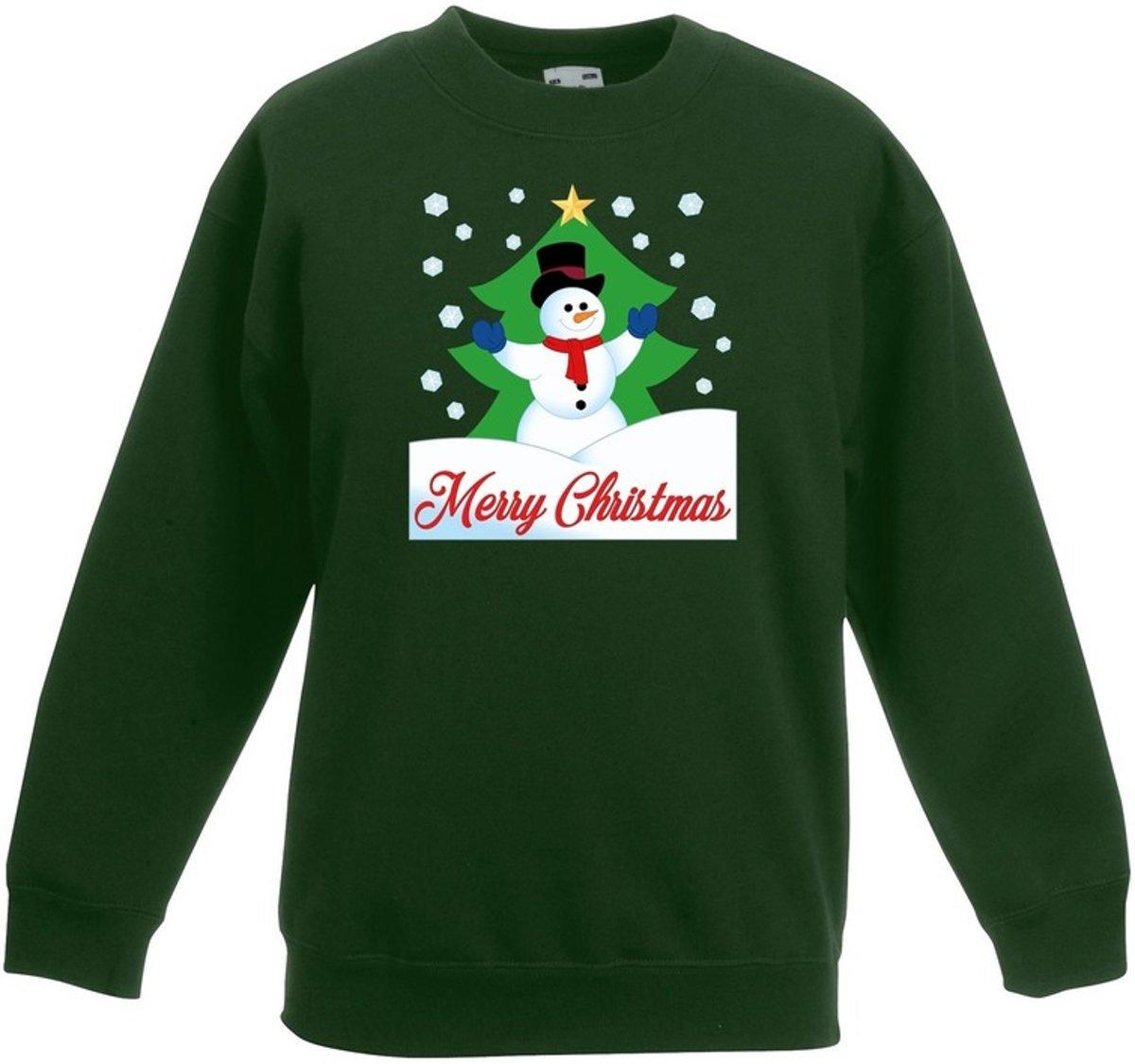 Groene kersttrui sneeuwpop voor kerstboom voor jongens en meisjes - Kerstruien kind 12-13 jaar (152/164) kopen