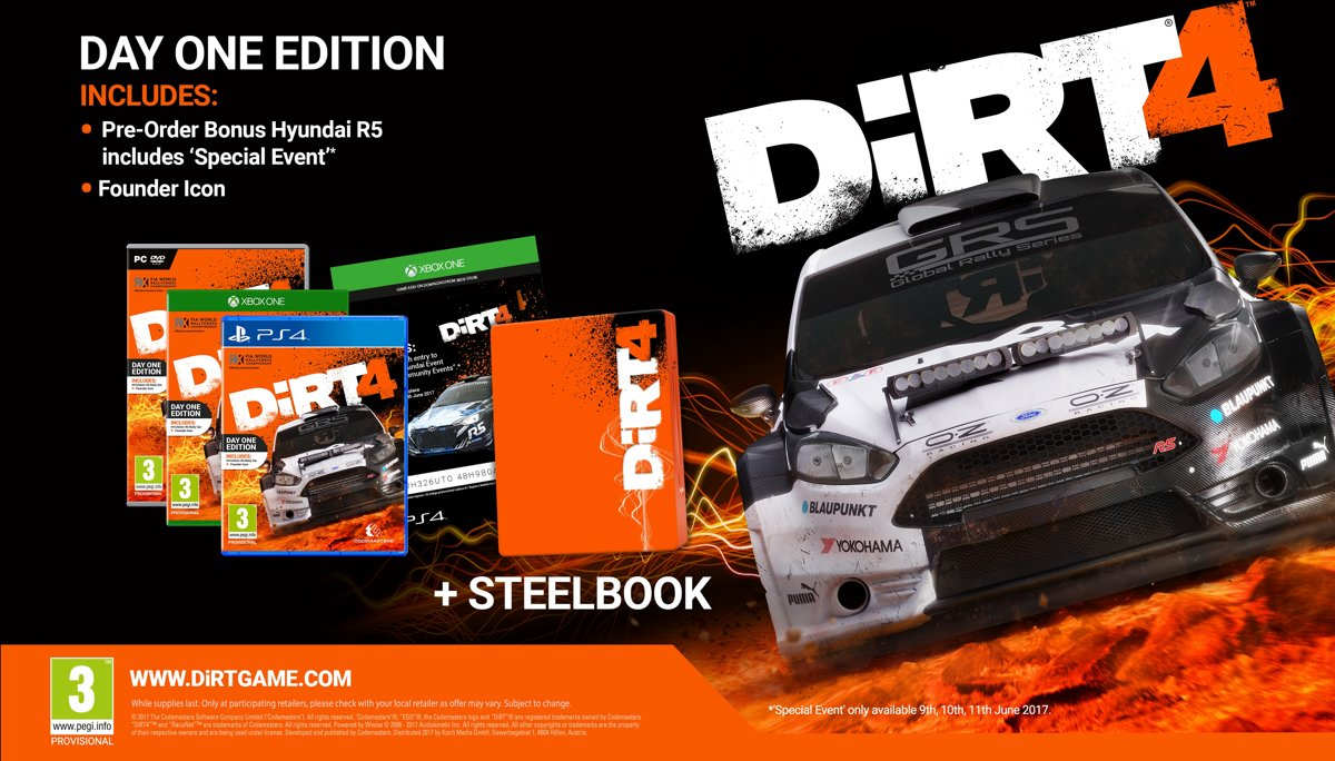 DiRT 4 Steelbook Preorder Edition PlayStation 4