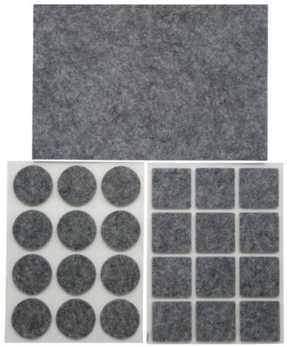 Anti Kras Rubber - Anti Kras Vilt - Beschermvilt - Vloer bescherming - Vloer beschermer meubels - 25 delig - Grijs kopen