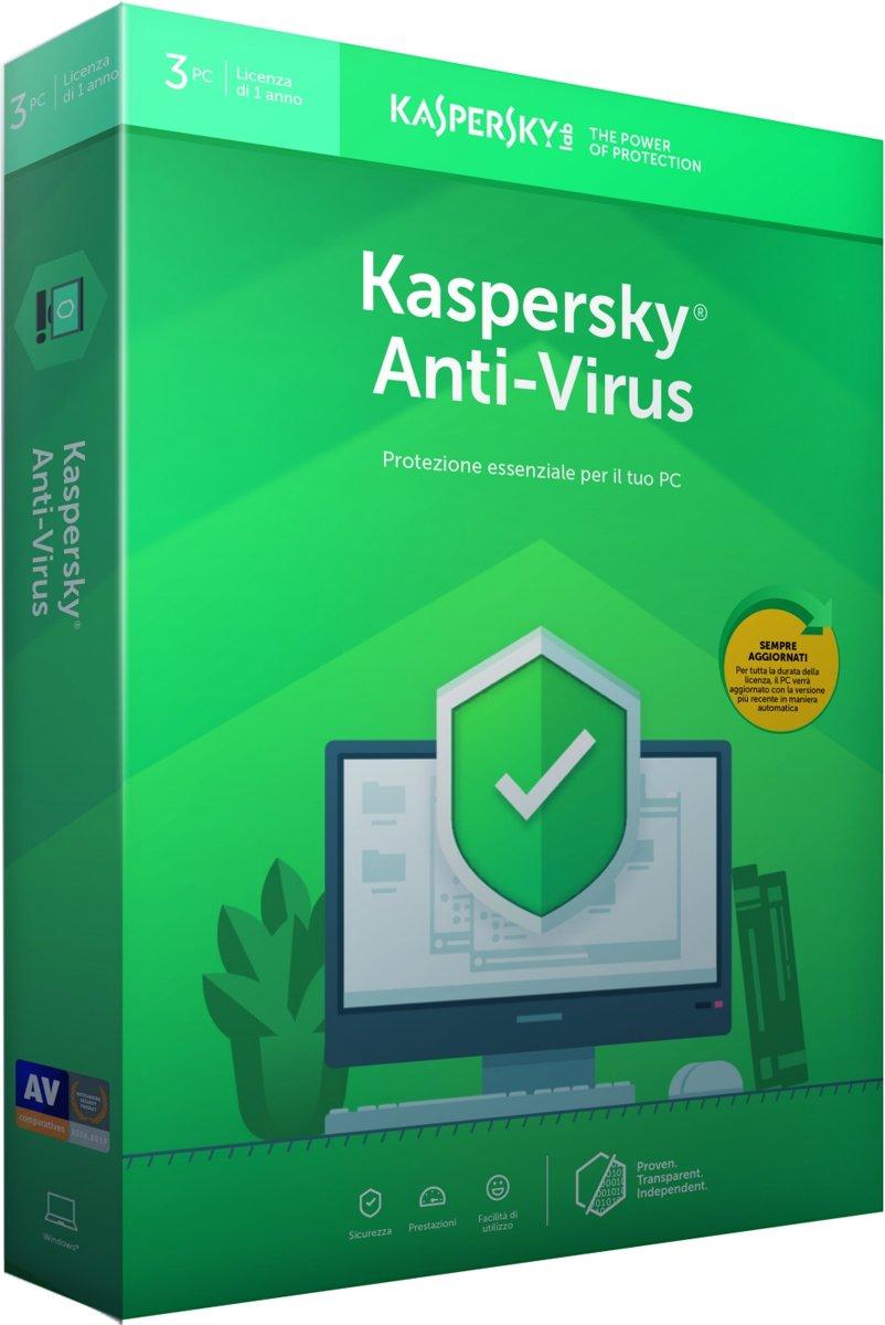 Kaspersky Anti-Virus 2019 - 3 Apparaten - 1 Jaar - Nederlands / Frans - Windows Download kopen