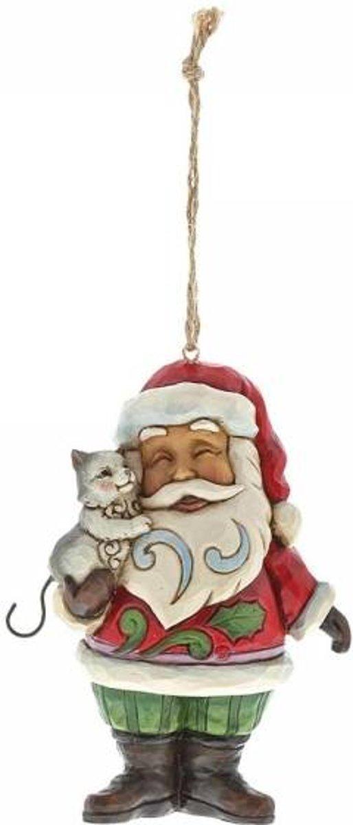 Jim Shore: Mini Kerstman met kat (Hangende ornament) Beelden & Figuren kopen