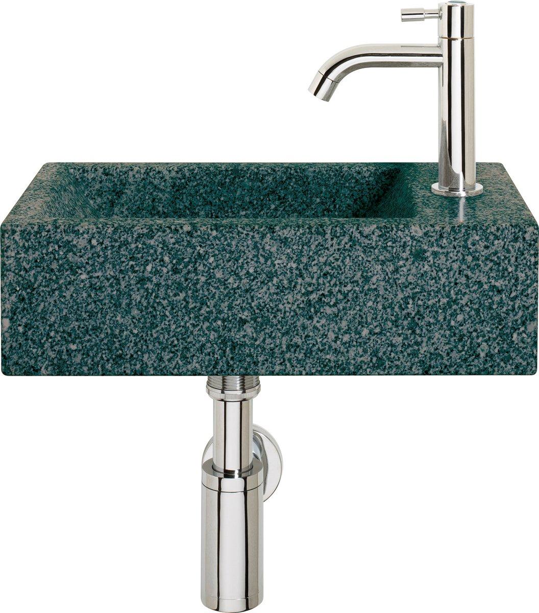 Differnz Cheops Fontein Toilet Rechts - Set - Fontein 40 x 23 cm inclusief fonteinkraan en sifon - Natuursteen - Grijs kopen