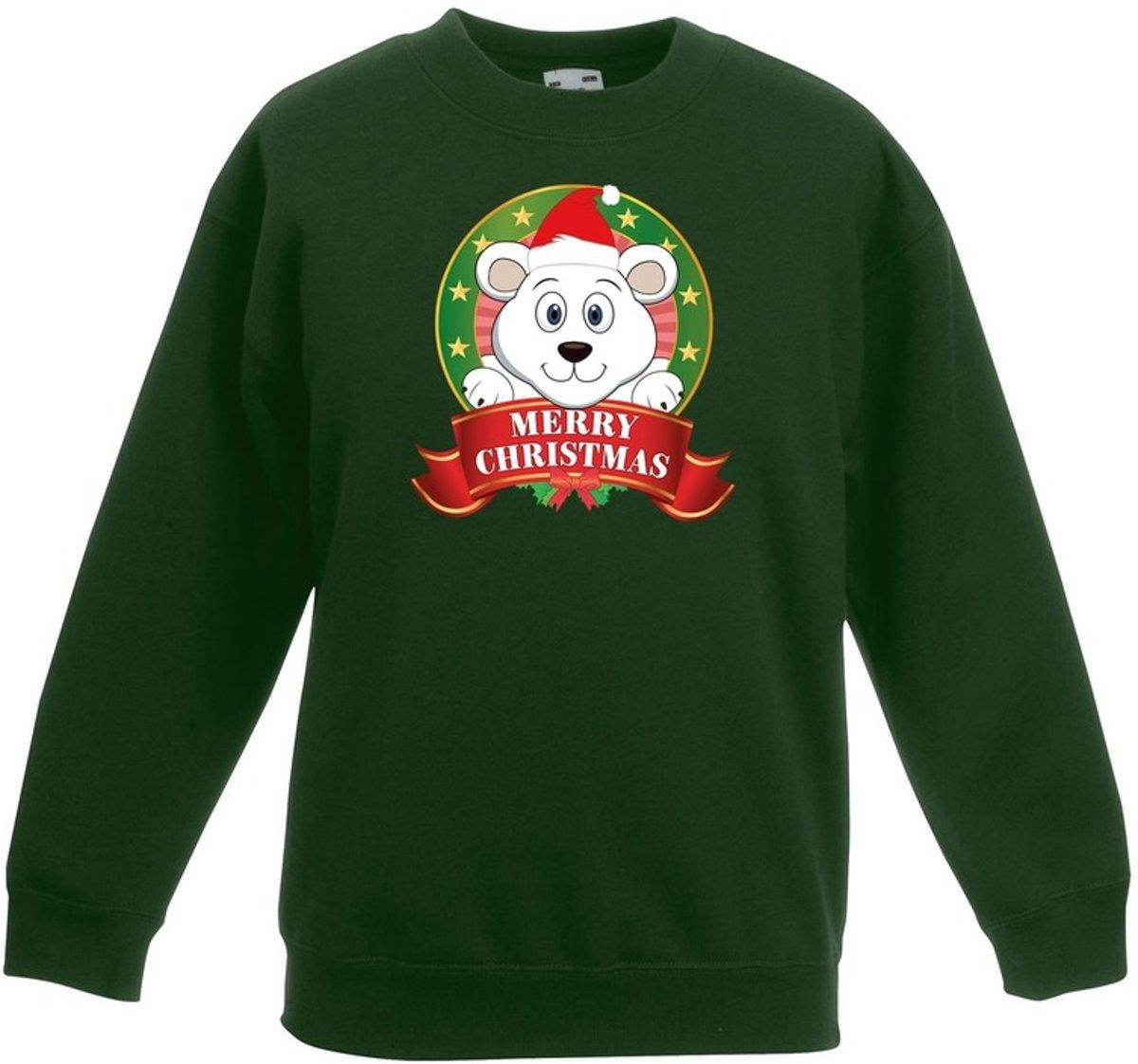 Groene kersttrui met een ijsbeer jongens en meisjes - Kerstruien kind 5-6 jaar (110/116) kopen
