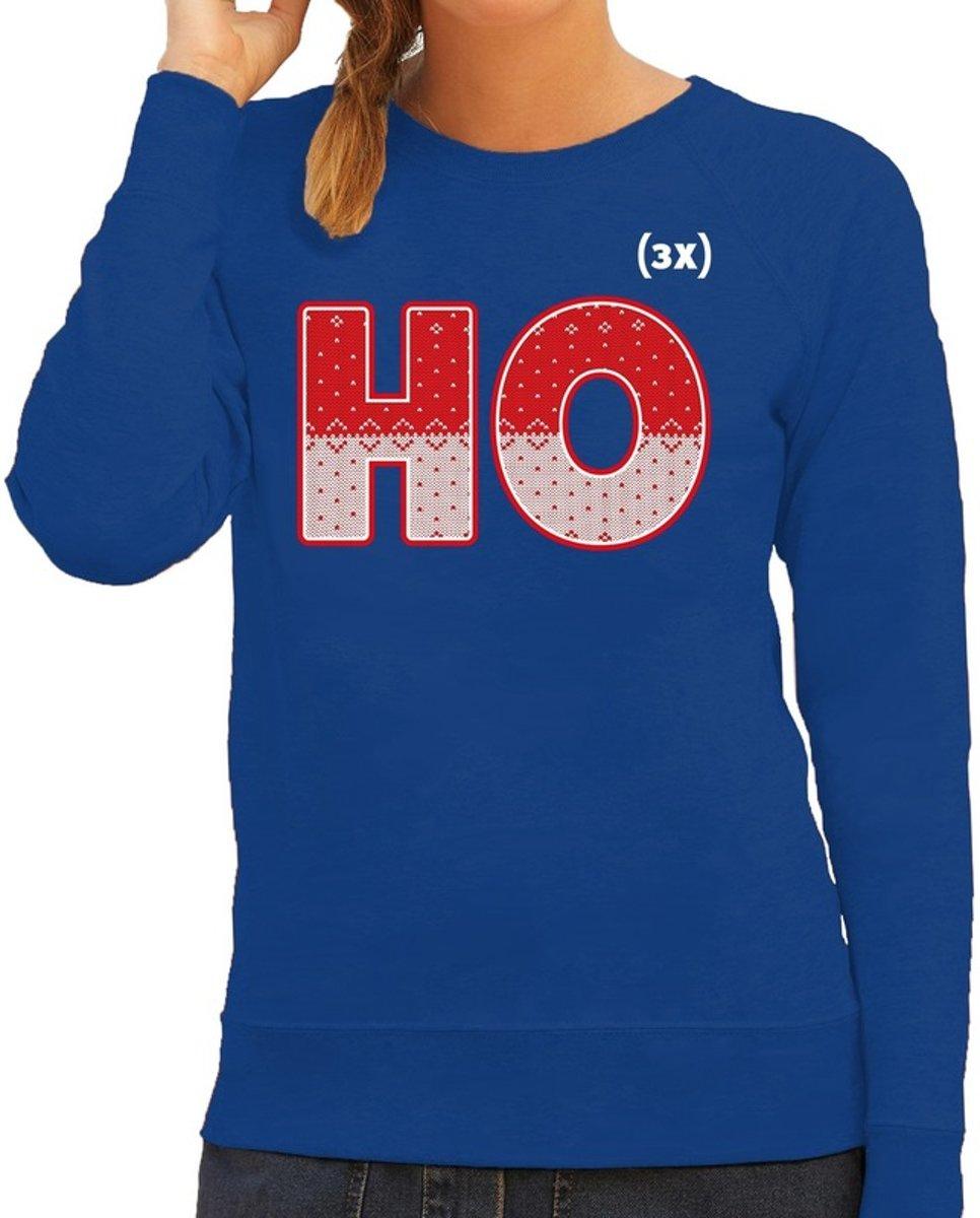 Foute Kersttrui / sweater - ho ho ho - blauw voor dames - kerstkleding / kerst outfit M (38) kopen