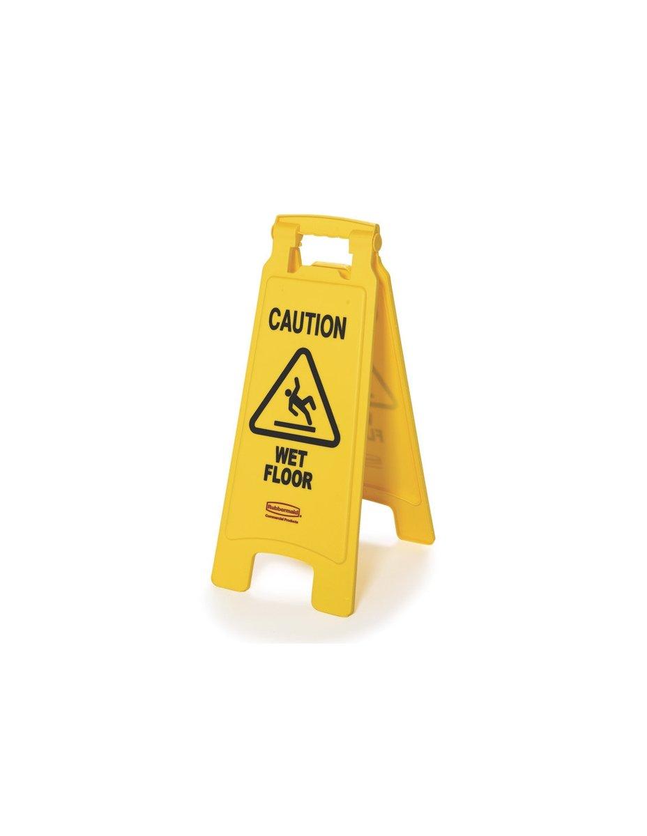 Waarschuwingsbord Wet Floor Caution 67x28x4cm Geel kopen