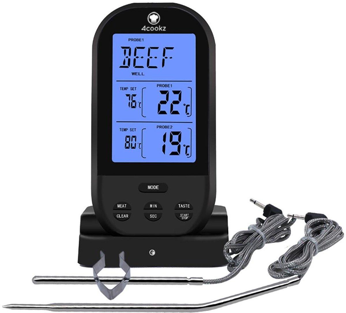 4cookz 2 sensoren draadloze BBQ thermometer - Zwart - 0-250 graden kopen