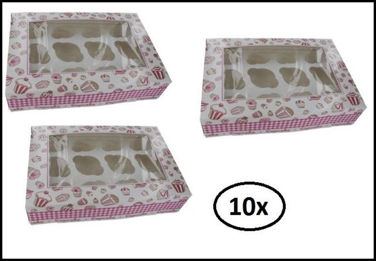 10x Vensterdoos Cupcake roze ruit 12 cups kopen