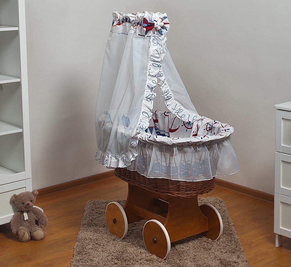 Rotan baby wiegje - Incl. beddengoedset, hemel met sluier, onderstel met wieltjes - 100% katoen - schepen kopen