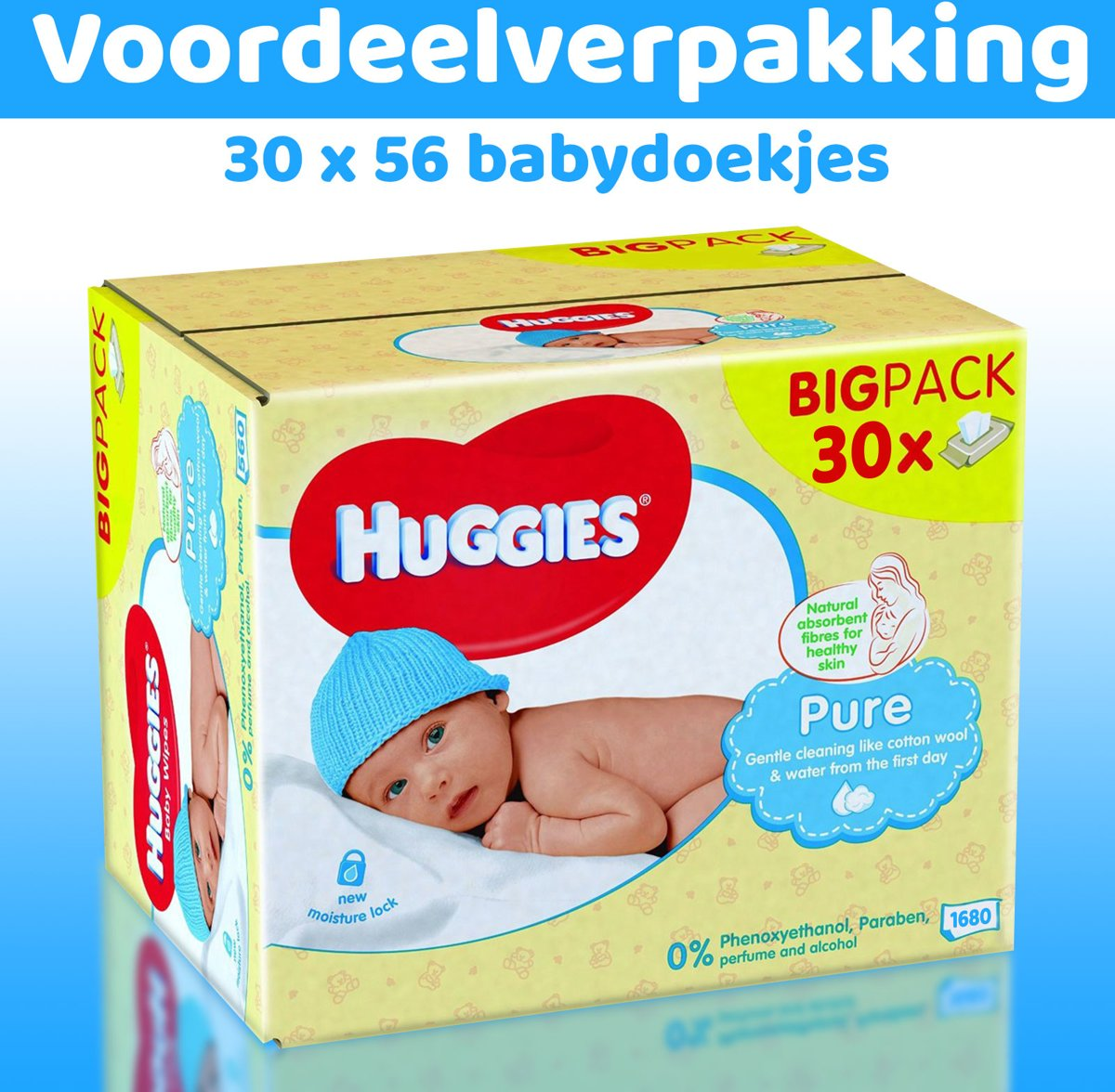 Huggies Pure Babydoekjes - 30 x 56 babydoekjes - XXL voordeelverpakking - Parfumvrij & dermatologisch getest - 30 x 56 - 1680 billendoekjes kopen