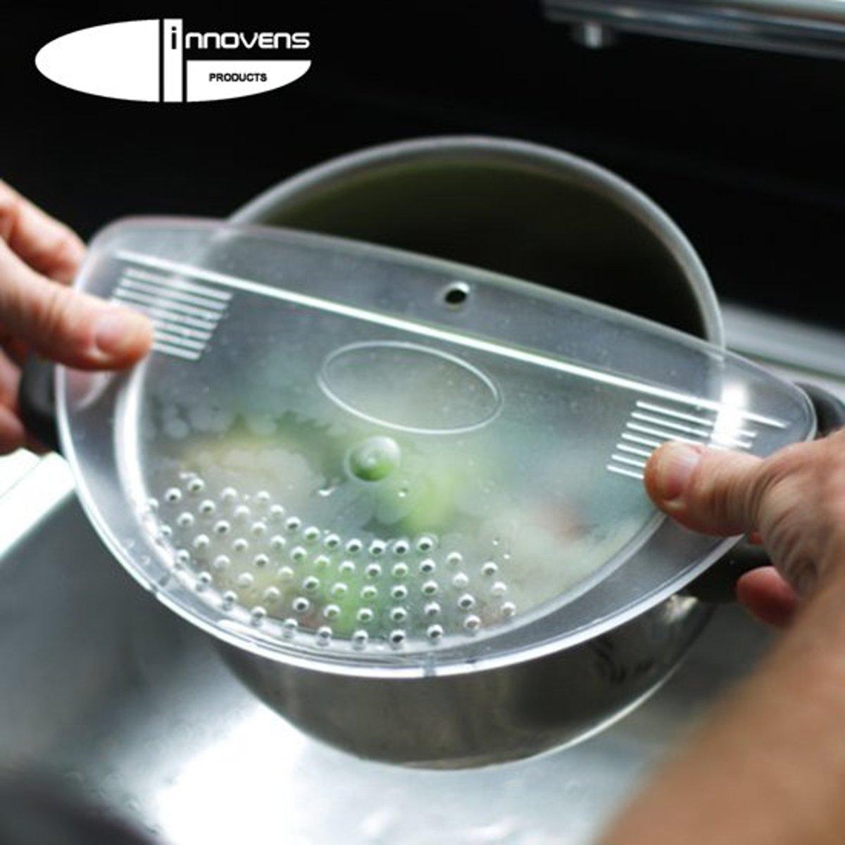 Afgieter – Veilig afgieten – Solide compacte keuken afgietdeksel - Afgiethulp - Keuken zeef - Transparant - Koken kopen