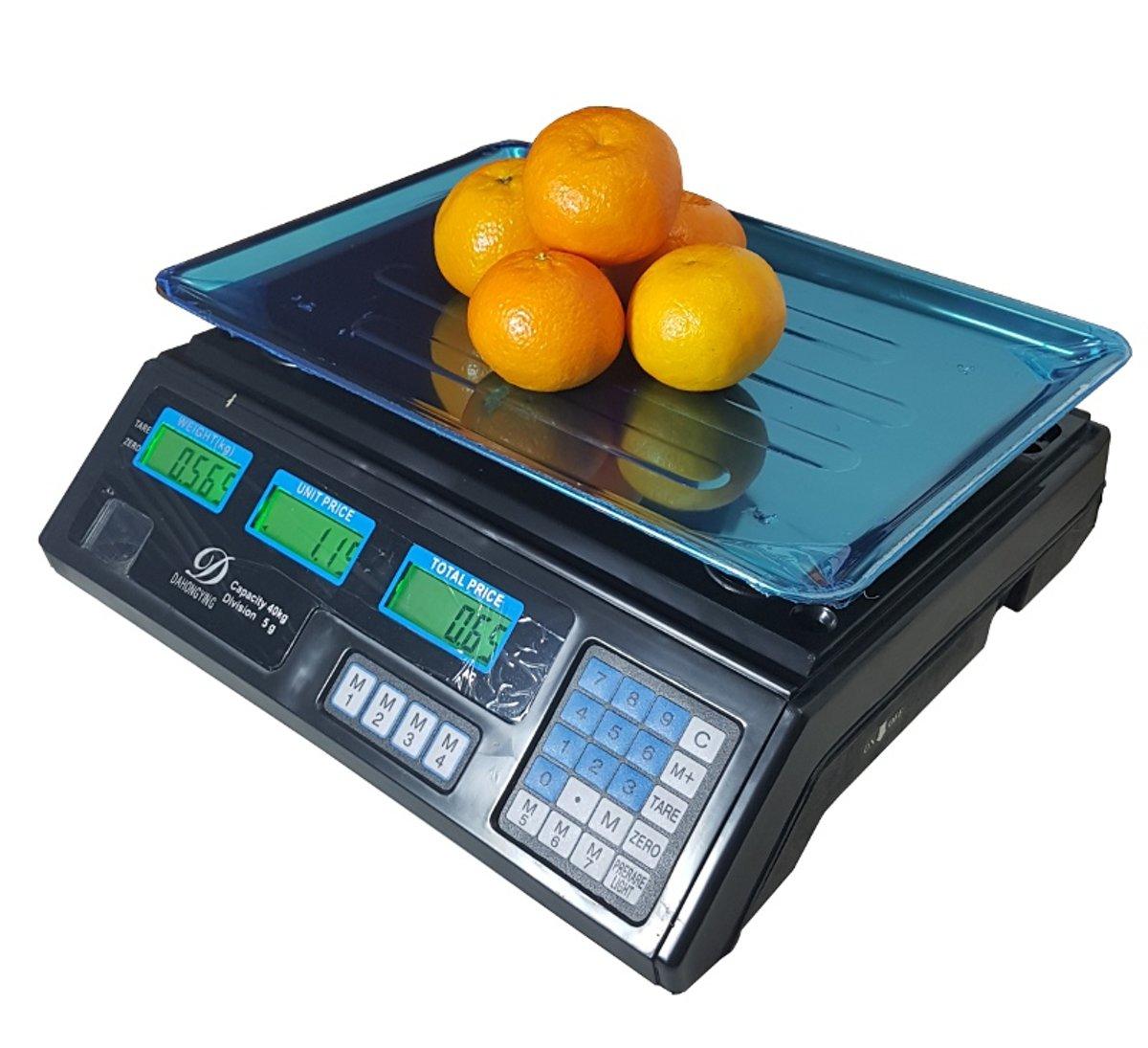Digitale horeca, markt, pakket prijs weegschaal met voor en achter lcd display 40KG met oplaadbare accu nauwkeurigheid 5 gram