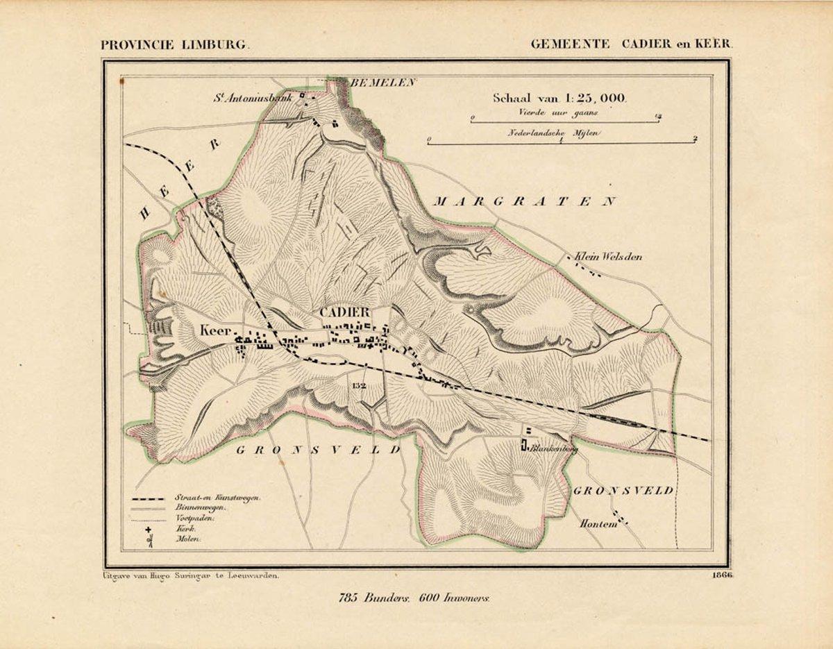 Historische kaart, plattegrond van gemeente Cadier en Keer in Limburg uit 1867 door Kuyper van Kaartcadeau.com kopen