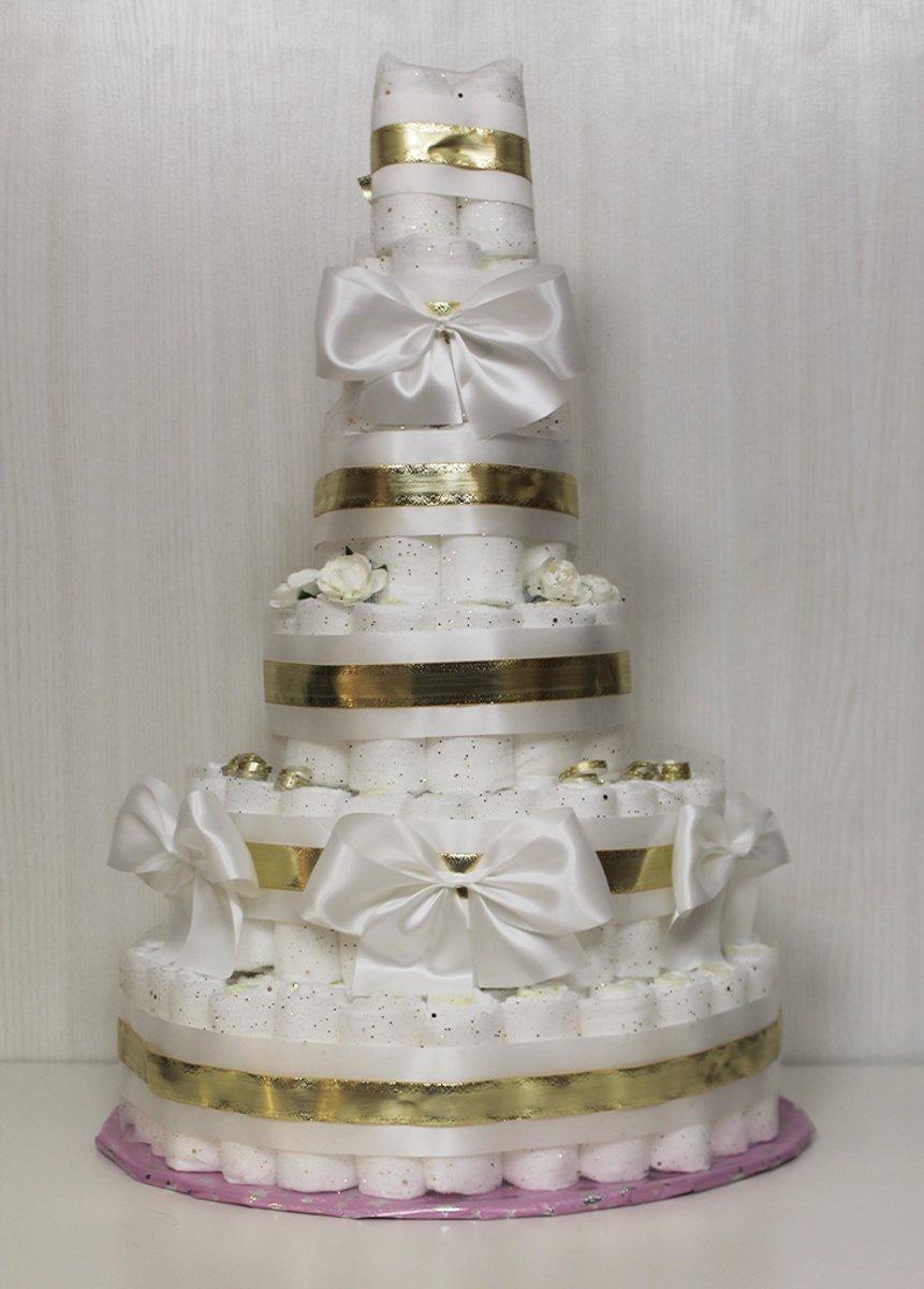 Pampertaart / Luiertaart Jongen Meisje Neutraal 6 -laags  maat 2 (4-8kg) Bruiloft cadeau, Kraamcadeau, Babyshower kopen