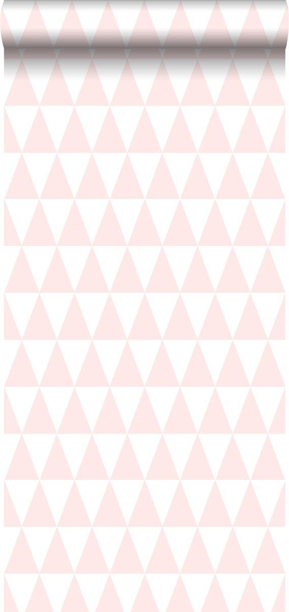 Behang Baby Roze.Top Honderd Estahome Behang Grafische Driehoeken Licht Roze En Wit