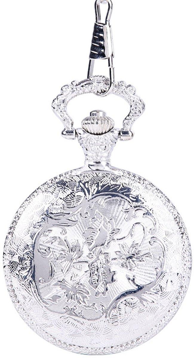 Ketting horloge- Bloem- zilver- # 27 kopen