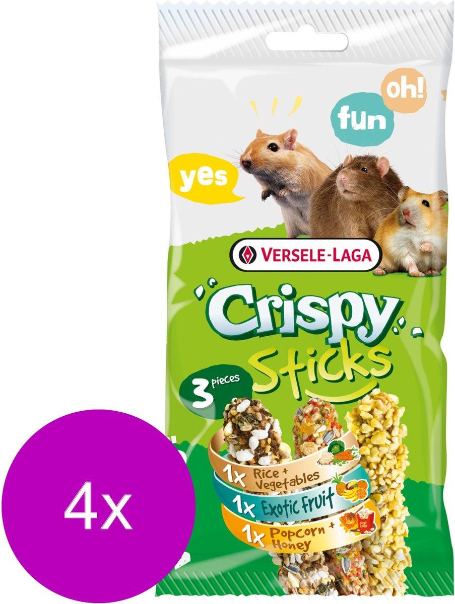 Versele-Laga Crispy Sticks Triple Variety Pack - Knaagdiersnack - 4 x Mix 3x55 g Omnivoren