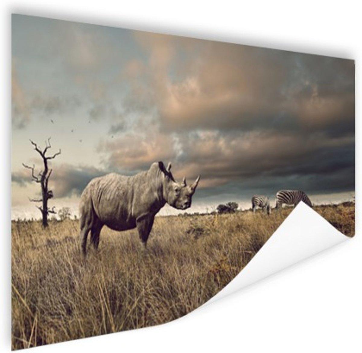 Afrikaanse dieren op de savanne Poster 60x40 cm - Foto print op Poster (wanddecoratie) kopen
