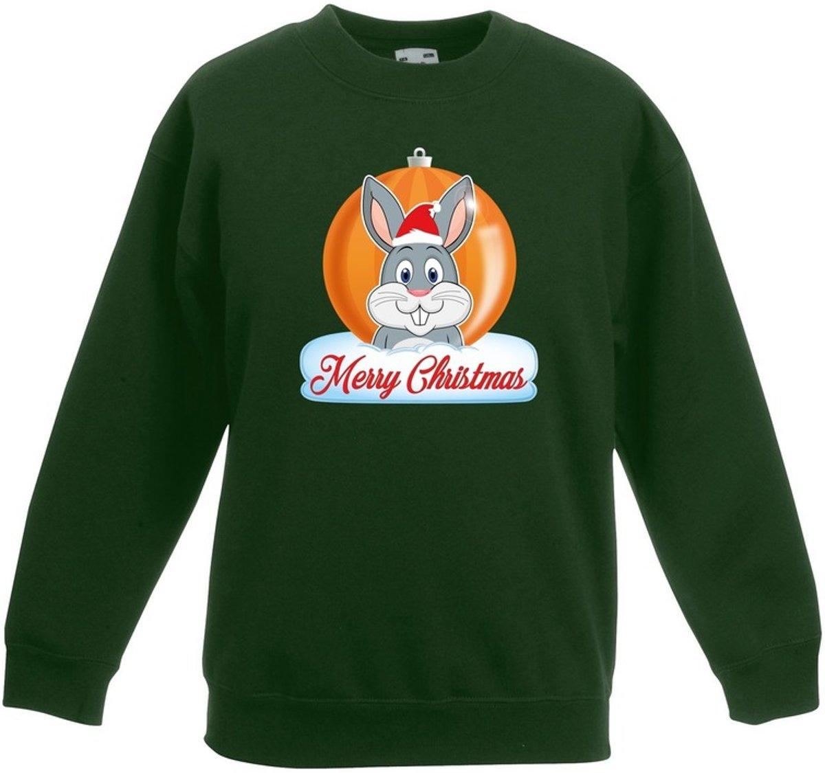Kersttrui Merry Christmas konijn kerstbal groen jongens en meisjes - Kerstruien kind 3-4 jaar (98/104) kopen