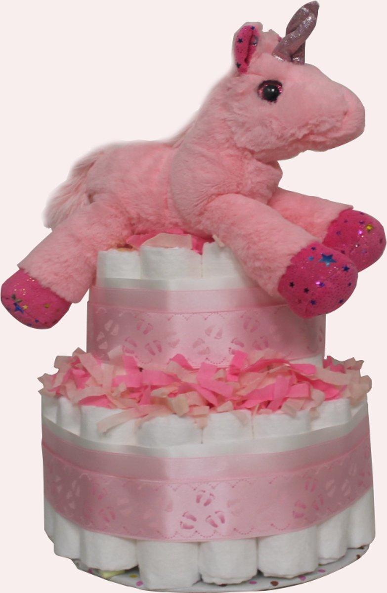 Pampertaart / Luiertaart eenhoorn / unicorn Meisje 2-lagen maat 1 (2-5kg), Kraamcadeau, Babyshower kopen