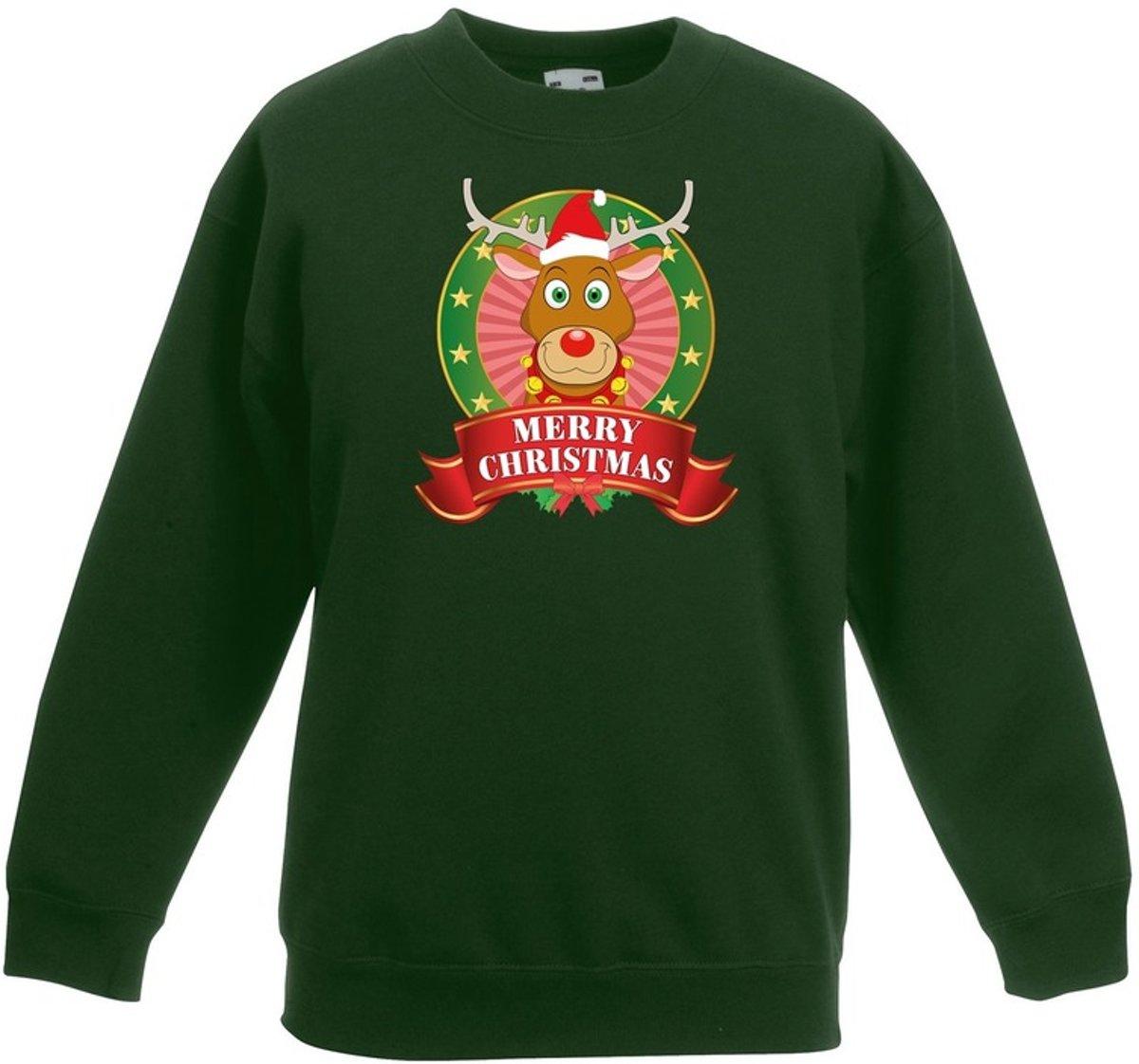 Groene kersttrui met rudolf het rendier jongens en meisjes - Kerstruien kind 3-4 jaar (98/104) kopen
